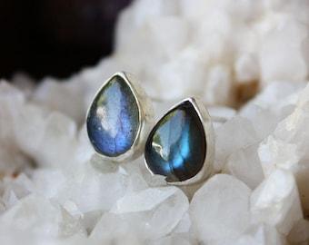 Labradorite Earrings, blue stone earrings, labradorite jewelry, teardrop stone sterling silver post stud earrings, gift for wife