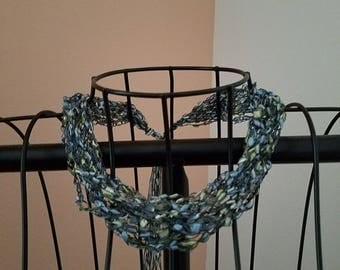 Sparkly Trellis Yarn Necklace, Silvery Blue and Light Green, Adjustable Necklace, Trellis Yarn, Ladder Yarn, Ladder Trellis Yarn Necklaces