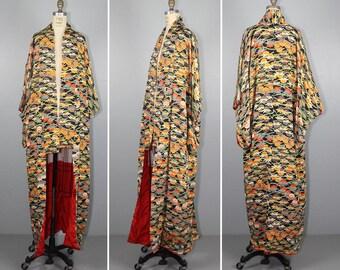 1940s / art nouveau / floral / vintage kimono / silk robe