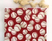 Reusable Snack Bag BPA free Sandwich bag with baseballs Zero waste lunch Boy's lunch bag Kid's lunch gift under 15 American Summer snacks