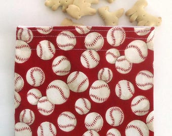 Reusable Snack Bag, BPA free, Sandwich bag with baseballs, Boy's lunch bag, Zero waste lunch, Kid's lunch, gift under 15