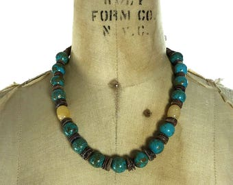 Vintage Pueblo Turquoise & Heishi Necklace / Short Strand Natural Chunky Stone Nugget Beaded Native American Jewelry