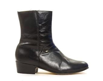 80s Beatle Boots / Black Leather Zip Up Ankle Boots / Vintage 1980s Dress Boots / Mod / Rocker / Western / Men's Size 6.5 or Women's Size 8
