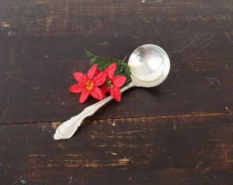 Rogers & Bros Silverplate Gravy Ladle Roses, Vintage International Silver Reinforced Plate