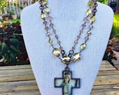 Holy Mother Layered Crystals Necklace
