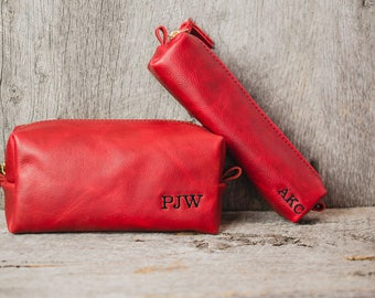 Personalized Red Leather Dopp Kit Groomsmen Gift | Monogram Leather Mens Toiletry Bag Wash Bag Travel Case | Gift for Husband Dad Boyfriend