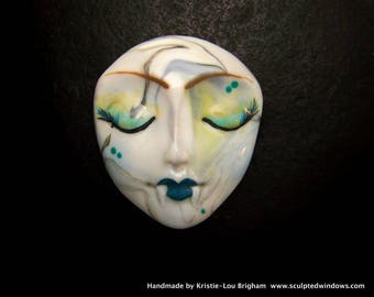 Vampire Goddess Lady OOAK Face CAB Cabochon Swirled & Hand Painted Polymer Clay