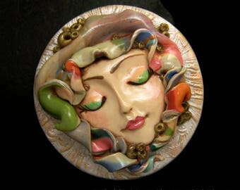 Colorful Bohemian Goddess Cameo handmade OOAK Face Cab Handmade Polymer Clay beading supply cabochon