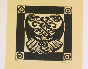 Celtic Birds Original Hand Printed Linocut Ireland Inspired Block Print