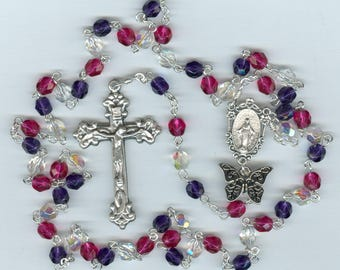 Firbormyalgia Glass Rosary with Butterfly - Raising Money to Find a Cure!!