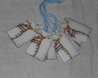 9 Primitive Whimsical Winter Snowman Christmas Hang Tags Gift Ties Ornies Scrapbooking Embellishments Holiday Tree Ornaments