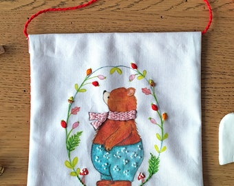 Embroidered Wall Hanging - Berry Bear - Nursery Room Decor