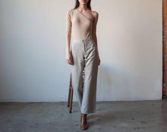 cotton straight leg khaki trousers / high waist pants / US 8 / 2984t / B15