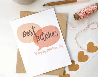 funny galentines day card. valentine for friend. for her. for sister. best friend long distance. swear cards.