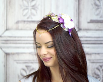 Floral Crown Diadem, Woodland Circlet, Purple and Gold Flower Crown, Fairy Headpiece, Elven Headdress, Costume Headpiece, White Headband