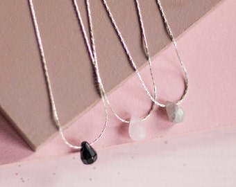 Minimalist Mineral NeckLace - Sterling Silver Necklace - Quartz Necklace - Onyx Pendant Necklace - Labradorite TearDrop Necklace - Delicate