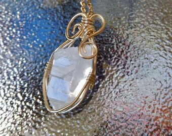 Quartz crystal point 14k gold filled wire wrapped natural pendant