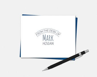 Personalized Modern Polka Dot Note Cards - Set of 10 - Folded Note Cards - From The Desk Of Note Cards - Personalized Stationery for Men
