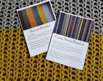 Set of 2 Crochet Pattern Postcards - Harvest Blanket & Crazy Stitch Blanket