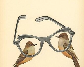 Bird Nerds. Original collage by Vivienne Strauss.