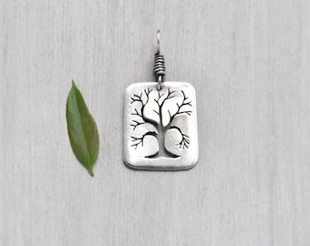 Vintage Sterling Silver Tree Pendant - handmade hand cut sawed tree branches silhouette - rectangular dog tag charm