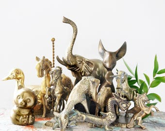 11 Vintage Brass Animal Lot - AS IS flawed broken damaged figurines - elephant camel deer duck horse unicorn mouse bear