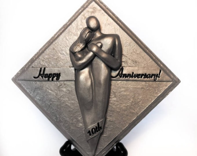 Happy 10th Wedding Anniversary Plaque, Tenth Anniversary Gift Tin Aluminium Gift for Him and Her