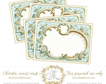 Digital Printable Wedding Place Cards, Wedding Escort Cards, Blank Place cards, number cards,  Personal use only