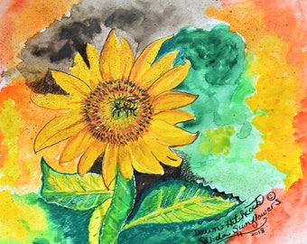 ORIGINAL Watercolor, Sunflower Painting, Sunflower Watercolor, Original Floral, Colorado Sunflower, Bold Colors, Contemporary, Sunflower Art