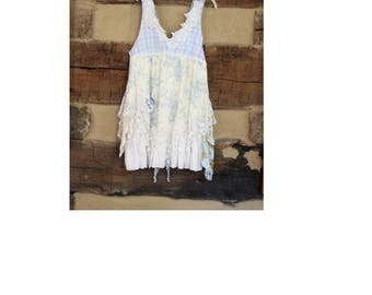Boho Chic Hippie Patchwork Womens Tunic Top Upcycled Clothes Jumper Clothing Crochet and Tattered Mori Girl Womens Plus Size