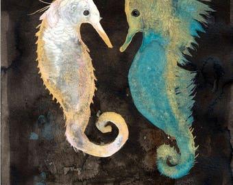 Sea Horses / watercolour gouache original