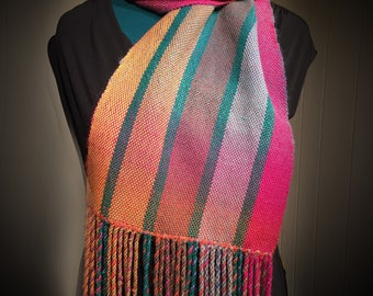 Ladies Scarf, Mens Scarf, Stylish Scarf, Handwoven Scarf, Handmade Scarf, Teen Scarf, Striped Scarf, Woven Scarf, Wool Scarf, Unique Scarf