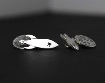 Rocket Ship Hand Cut Sterling Silver Cufflinks
