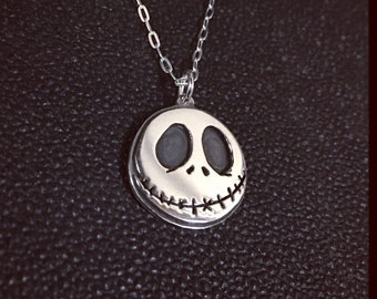Jack Skellington Hand Cut Sterling Silver Nightmare Before Christmas Necklace