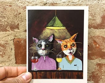 Cat Card - Cats with Wine -  Blank Card - Funny Cat Greeting Card - Cat Art - Gift for Cat Lover - Cat Stationary - Art Card - Unique Card