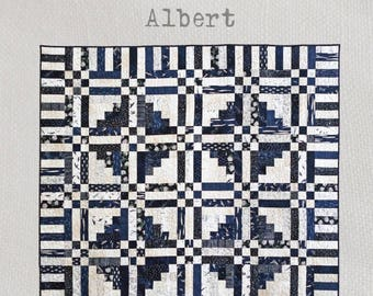 Albert - Quilt Pattern - A striking design in two tones featuring traditional patchwork blocks and techniques