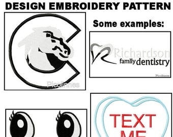 CUSTOM One BASIC Machine Applique Design Embroidery Pattern in One Format and 3 sizes