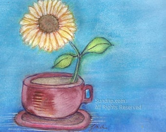 Sunflower Tea Cup Watercolor Painting