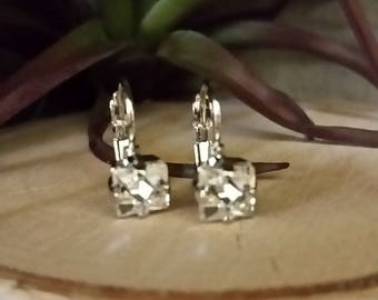 6x6mm Square Crystal Clear Swarovski Crystal Leverback Earrings in a Rhodium PlatedSetting