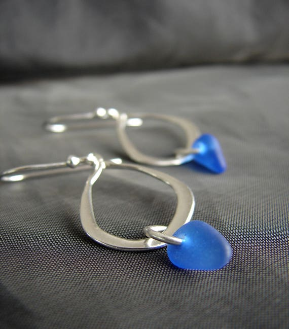 Waterline sea glass earrings in cobalt blue