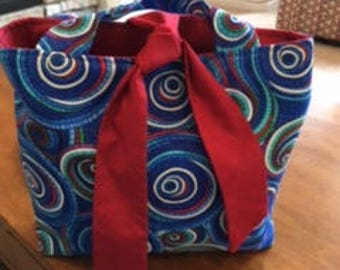 Blue Spiral with Red Lilly Blossom bag