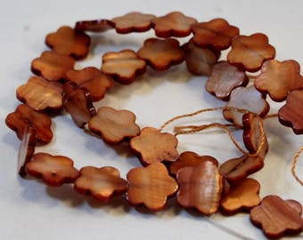 Brown Dyed Mother-of-Pearl Shell Flower Beads, 15mm, 16-inch strand, Wholesale Beads