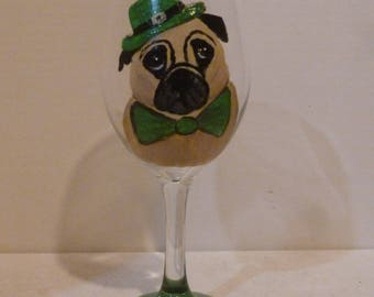 St. Patricks Day Dougie the Pug Dog Wine Glass  Hand Painted  Pet Lovers Boutique