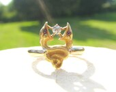 Antique Gold Double Snake Diamond Ring, Fiery Old European Cut Diamond, Beautiful Design in 14K and 18K Gold, Victorian - Art Nouveau