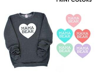 Mama Bear with Heart Dark Heather Grey Sweatshirt - Gift for Mom, Expecting, New Baby, Christmas, Birthday Gift, Cozy Fleece Sweater