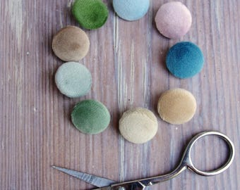 Fabric Covered Buttons -  Pastel Colors, Soft Velvet - 58 pcs