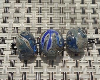 Handmade Lampwork Glass Bead Set Sea Ocean Beach Water Waves Sand Nautical Blue Round Artisan Lamp Work Trio SRA Generationslampwork