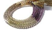 SALE 50% off - Amethyst, Lemon Quartz & Smoky Quartz Beads, Smooth Natural Gemstones, 4mm Rounds for Making Jewelry (S-Mix1)