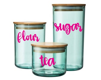 Cute Script Canister Decals, Decals for Canister, Sugar, Flour, Tea Decal, Baking Decals, Kitchen Decals, Canister Labels, Canister Stickers