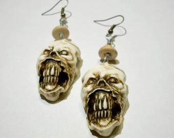 Zombie Earrings, Shrunken Head, Sculpture, Skeleton, Voodoo,  Zombie Head Earrings